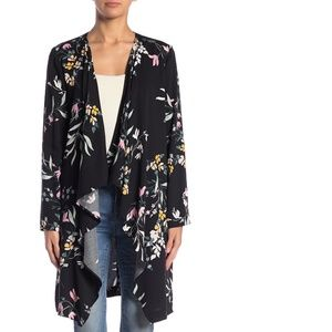 14th &  Union Black Floral Open Front Cardigan